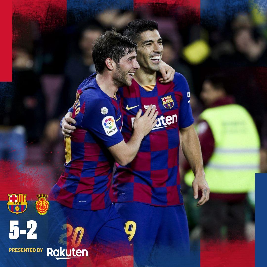 Big W!  5️⃣ BARÇA — @AntoGriezmann (7'), L. #Messi (17', 41', 83'), @LuisSuarez9 (43') 2️⃣ MALLORCA — A. Budimir (35', 64')