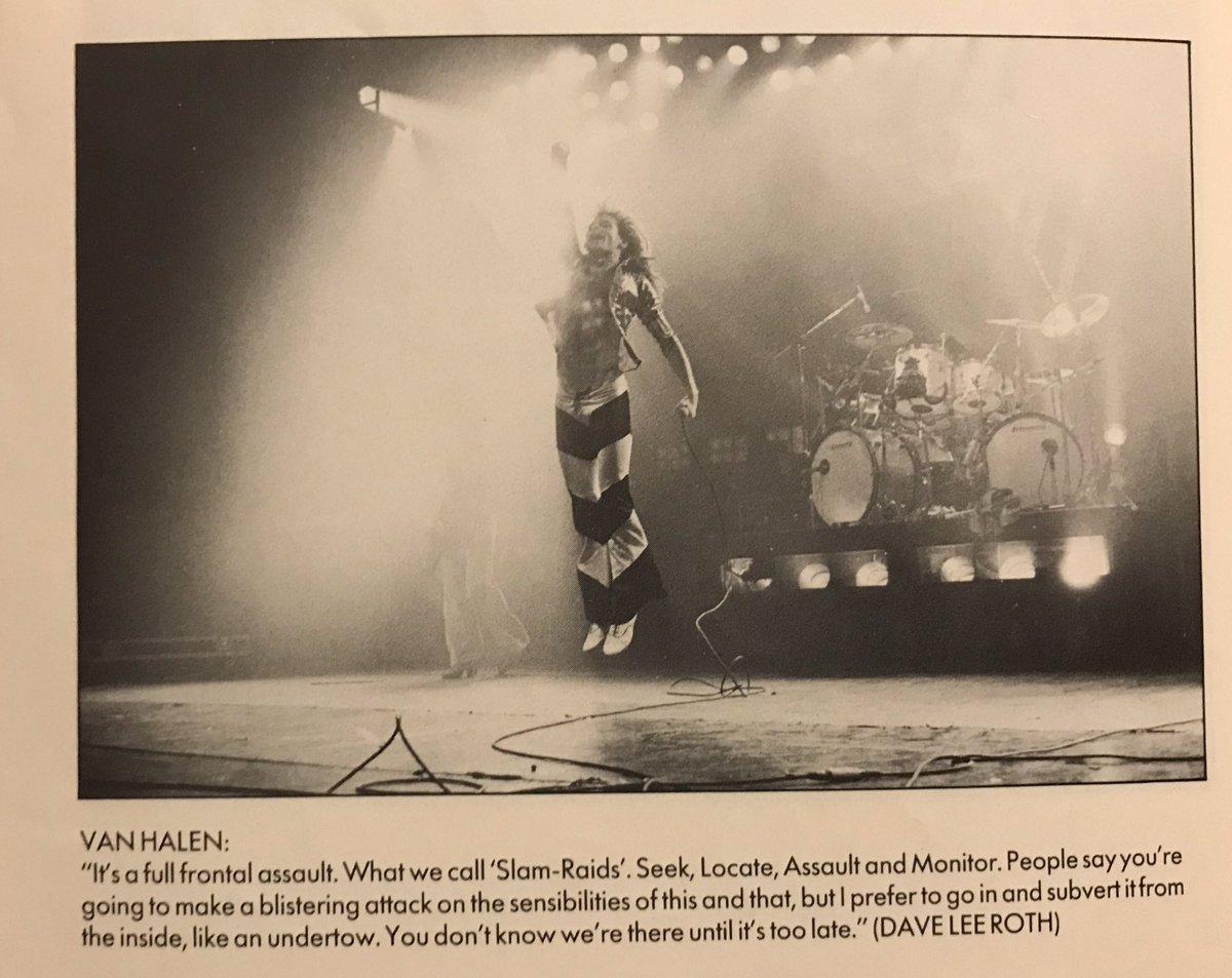 David Lee Roth leads Van Halen's full frontal assault on the Rainbow Theatre, October 1978.    Ross Halfin <br>http://pic.twitter.com/h3n93rV0AM