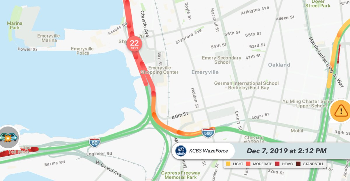 #Oakland 580 WB Crash on the transition ramp to EB 80 blocking the right lane. Backing up to Hwy 24 #Waze #TheMaze #Emeryville #KCBSTraffic