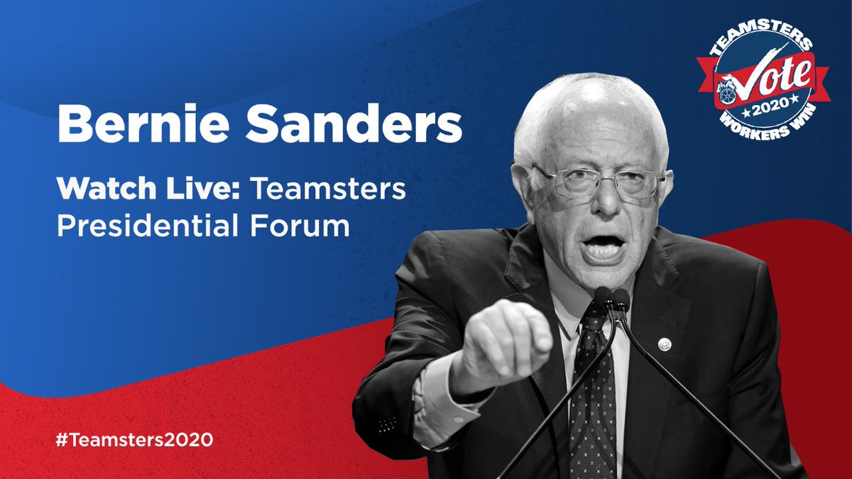 Our final guest is taking the stage at the #Teamsters Presidential Forum. Watch live online as Senator @BernieSanders talks to #Teamsters in Iowa and across the country: http://www.teamstersvote.com/2020-presidential-candidate-forum-livestream… #1u #Teamsters2020