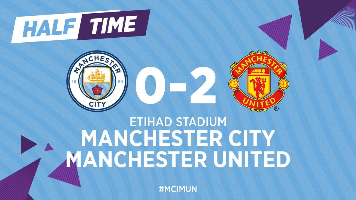 HALF-TIME | We trail at the break...  🔵 0-2 🔴 #ManCity #MCIMUN