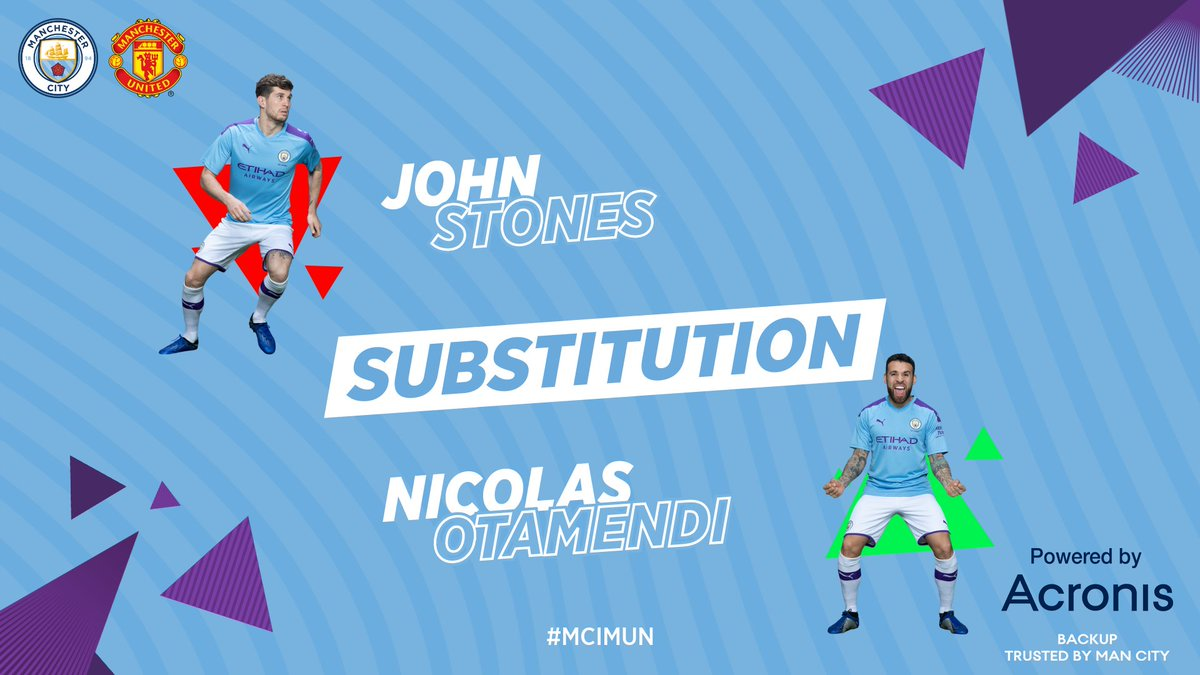 CITY SUB | Our first change of the evening as an injured Stones is replaced by @Notamendi30...  🔵 0-2 🔴 #ManCity #MCIMUN