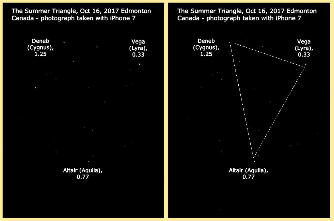 The Summer Triangle, photographed with an iPhone:  #astrophysics #astrophotography #nasa #esa #space #kindle