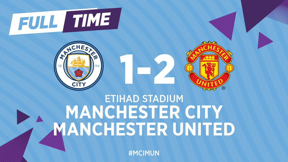 FULL-TIME | We get a late goal through @Notamendi30 but's not enough and United take the three points.  🔵 1-2 🔴 #ManCity #MCIMUN