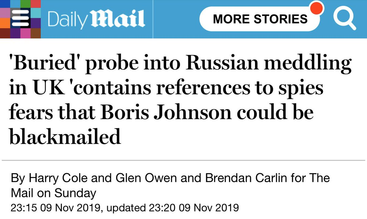 The intrigue over a 'buried' probe into Russian spying deepened last night amid claims in security circles that it contains references to blackmail fears concerning Boris Johnson. #ReleaseTheRussianReport<br>http://pic.twitter.com/vb8GpSuJ7o
