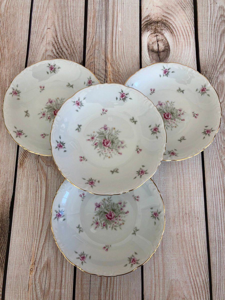 Excited to share the latest addition to my #etsy shop: 4 Vintage Meito China Floral Bowls, Mismatched Wedding China, Coupe Soup Bowls, Salad Bowls, Pink Floral China  #housewares #white #wedding #pink #setof4 #chinabowls #madeinjapan #meitochina