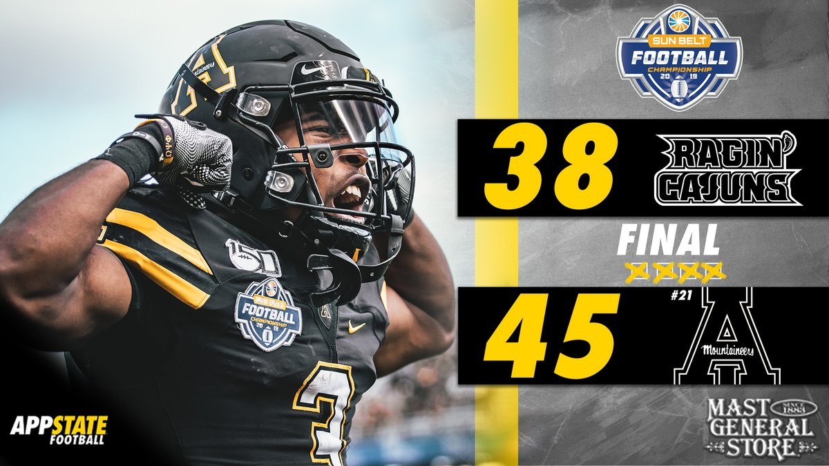 That's a final from Boone!  App State has now won  straight Sun Belt .  The Mountaineers improve to 12-1 on the season with a 45-38 win against 10-win Louisiana.   #PridePassionPurpose<br>http://pic.twitter.com/s0HKh4zEcX