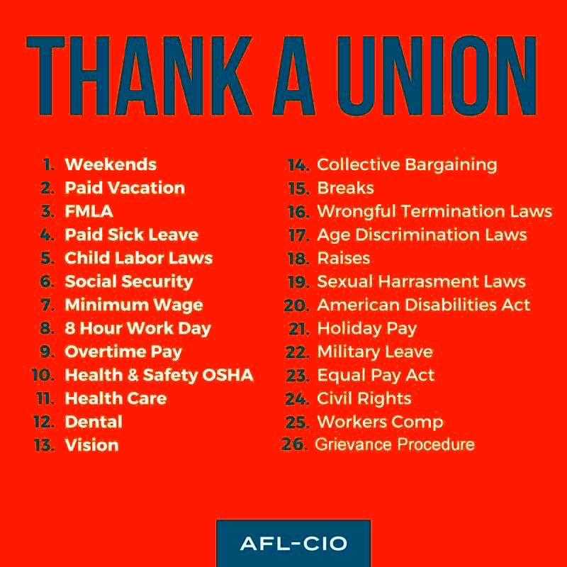 Because of Unions we have:   Weekends  Fair Wages  Healthcare  Retirement  Overtime Pay  Parental Leave  Paid Vacations  Paid Sick Leave  Safety Reforms  Minimum Wage  Worker's Rights  Child Labor Laws  And so much more!      #1u #canlab #UnionStrong<br>http://pic.twitter.com/mABLk08A09