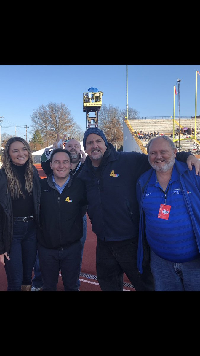 The @WSMV crew back in Cookeville for the final day of the state championships. Best of luck to our middle TN teams, Springfield and @RavenwoodFB @JBeasleyWSMV @chmorris @kaileyschuyler_ & photobomb @Kreager