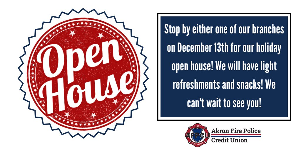Stop by one of our branches on December 13th from 8:00 a.m. - 4:00 p.m. for our #HolidayOpenHouse! We will have light refreshments and snacks! ☕🍫 See you there! 👍Click here for branch location info: https://bit.ly/2zYSiif #TheFirstRespondersCU #Firefighter #Akron #Ohio