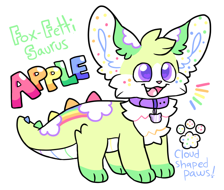 Decided to mess around and design a new fun character :P This is Apple, the Fox-fetti saurus! Her design is heavily inspired by Moriah Elizabeth on YouTube ^o^  <br>http://pic.twitter.com/uhN3ZNDbz6