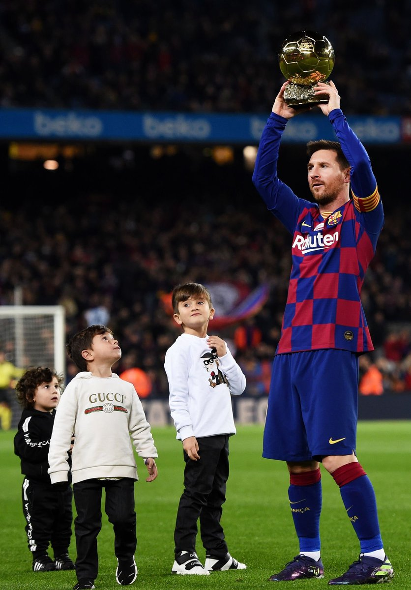 Hat trick right after recieving this beautiful trophy.  Forward towards another #BallonDor in his career ! All Hails the king 👑 #Messi