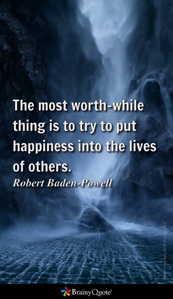 Good #MorningNutrition The most worth-while thing is to put happiness into the lives of others. Robert Baden-Powell—————And *empower* those one works with, to have more *fulfilling* and *productive* work life, by using correctly the position one has. https://www.brainyquote.com/s/a_2b741