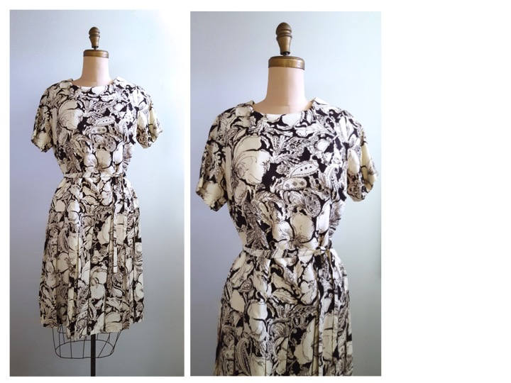 1960s brown and white floral drop dress  #wasteless #fashion #vintageclothing #retrouverbiz #Vintagelifestyle #truevintage #onlineshopping #vintageforsale #vintagefashion