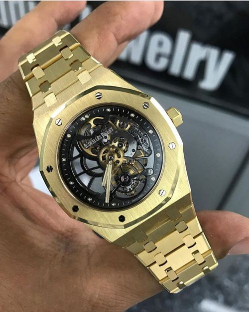 Yellow Gold AP Royal Oak Skeleton Tourbillon 🔥 📷 @expresswatches... #Chrono #Clothing #Fashion #Outfit #Shopping #Style #Watch #Watches #luxury #lux  Luxury bracelets: