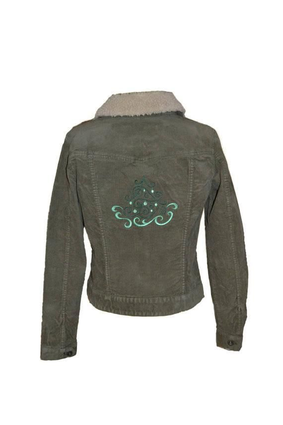 """Christmas Tree"" Embroidered Corduroy Jacket **Free Shipping**  #jacket #tree #christmas #corduroy #green #clothing #womens #girls #coat #outwear #fashion #ornament #sherpa #holiday #winter"