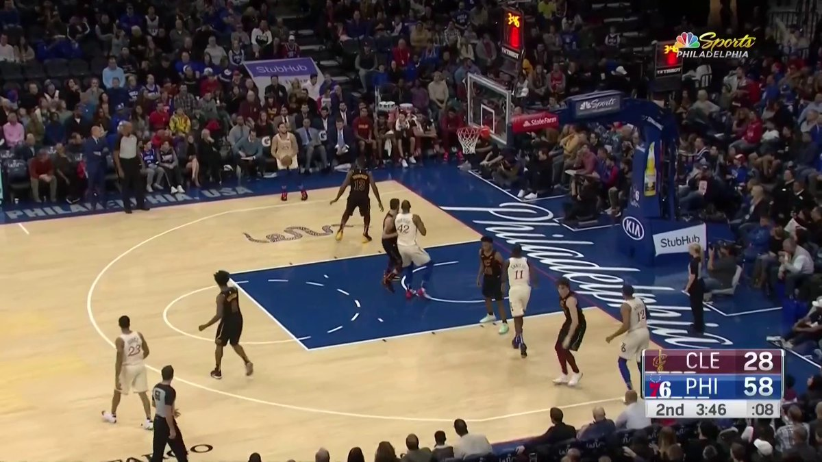 CONFIRMED: BEN SIMMONS IS A THREE POINT SHOOTER.   He lands this one from beyond the arc as the Sixers take care of business over the Cavs,