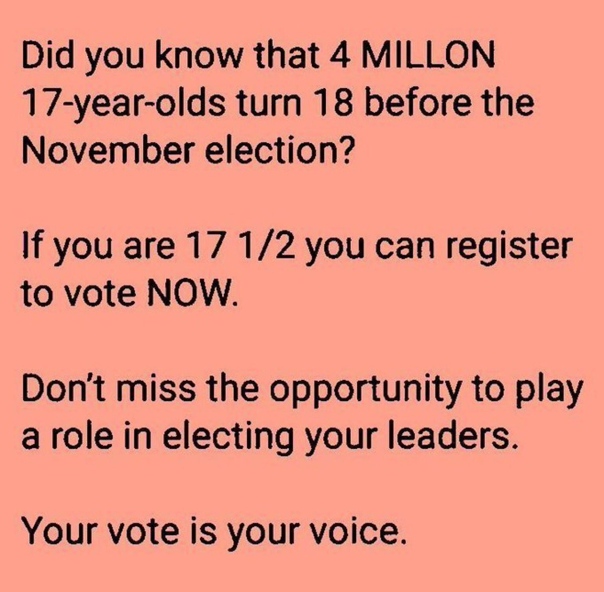 @NY_runaway There are 4 million 17 yr olds turning 18 by this November. This is why the republicans are focused on restricting and disenfranchising young voters. Un-America! #OneVoice1 #WTP2020 #wtp2020Heather Let's vote out GOP for our democracy! #VoteBlueToSaveAmerica