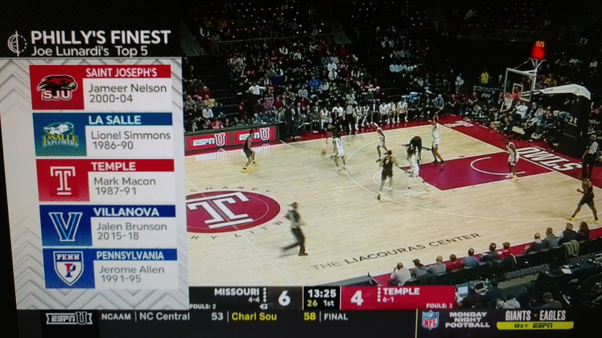 During tonight's @TUMBBHoops game, @ESPNLunardi picked his all time Big 5 starting lineup #Temple #MIZZvsTEM #Big5