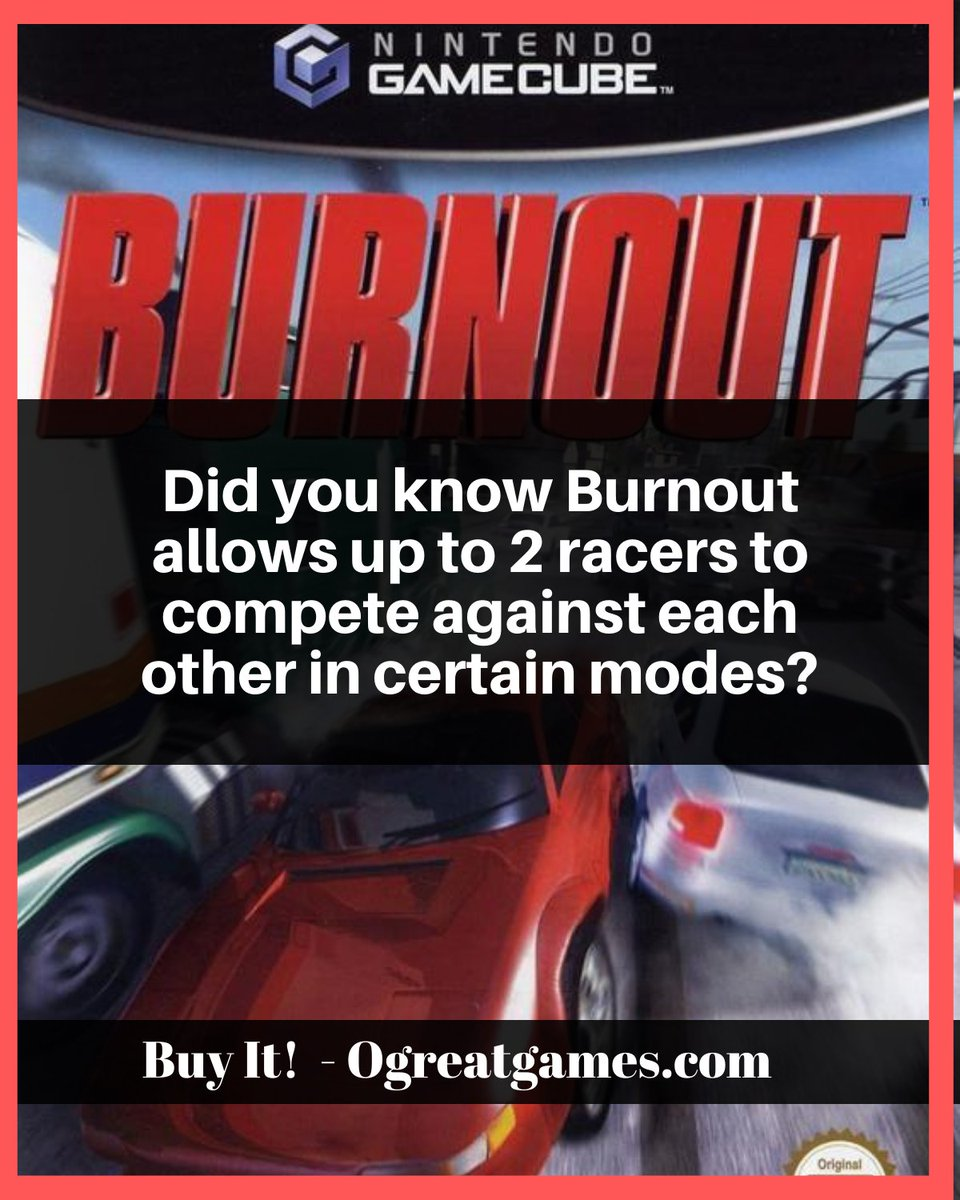 Did you know Burnout allows up to 2 racers to compete against each other in certain modes?  #versus #gaming #fact #question #gc