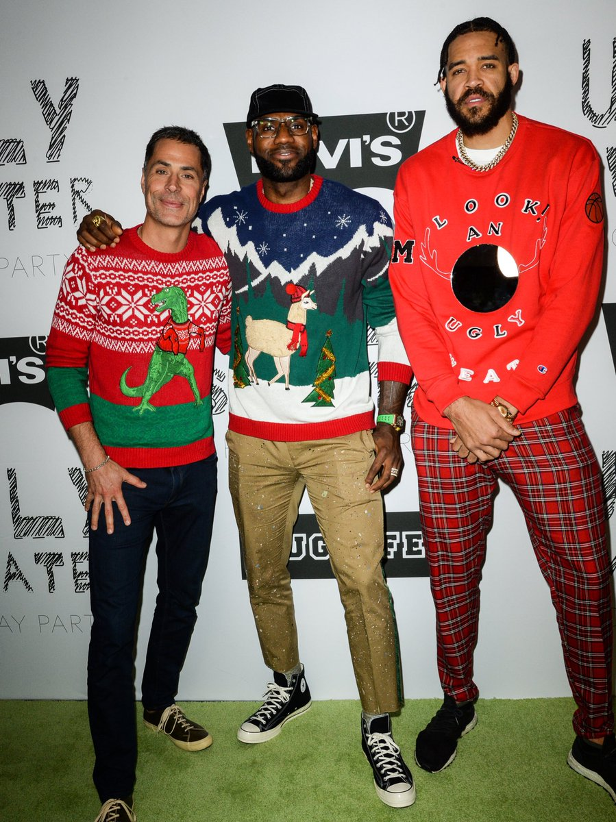 .@KingJames wearing Chucks at @JaValeMcGee's Juglife Ugly Sweater Holiday Party 🎄 📸: Ray Tamarra
