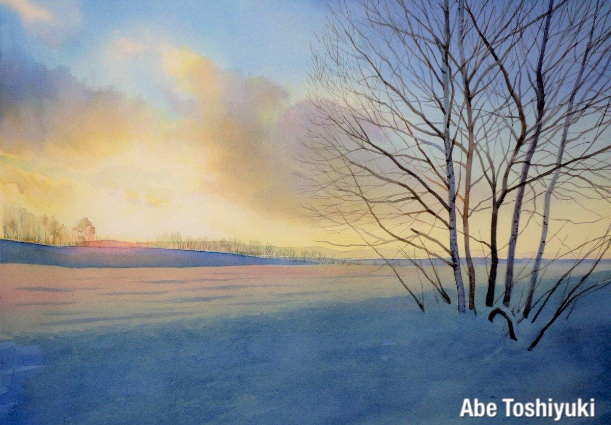 冬の北海道を描いた水彩画です。雲が気に入っています。#透明水彩