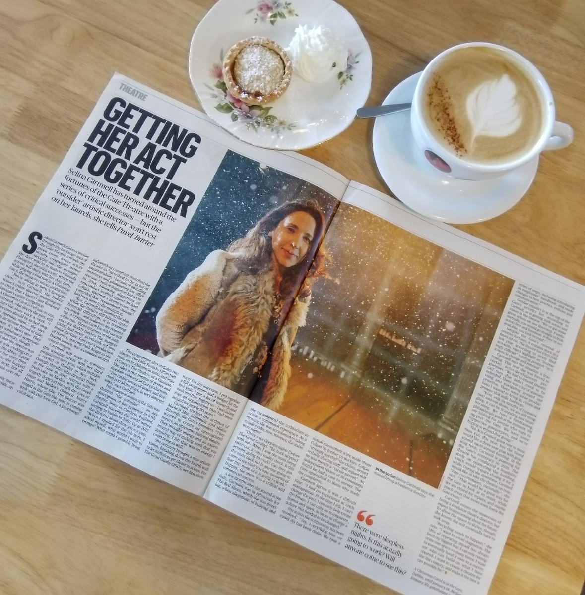 Coffee ✔️ Mince Pie ✔️ @ST_Culture ✔️ A really lovely interview with the Gate Theatres artistic director @cartmell_selina about our new season for 2020 #POWERandFREEDOM. Pick up a copy and get cosy on this wet Sunday ☔ #Season3 #Gate2020