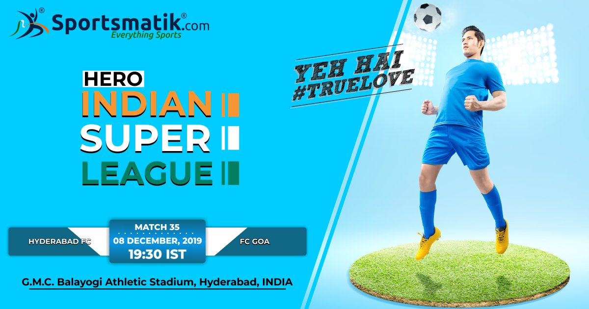 Let's see who's gonna be tougher at the nail-biting match between #HyderabadFC vs #FCGoa at G.M.C. Balayogi Athletic Stadium, Hyderabad. Get ready Football Lovers!https://sportsmatik.com/sports-events/view/223/hero-indian-super-league…#Sportsmatik #india #football #ISL #Truelove