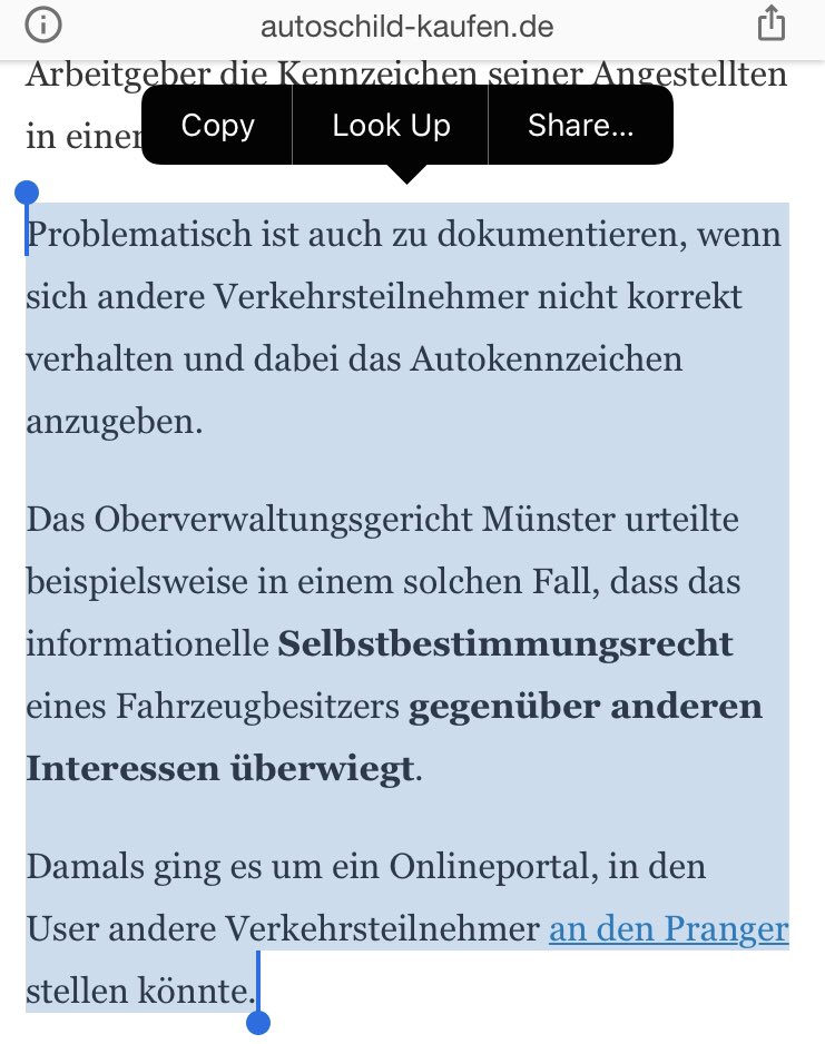 "@JohnStanHunter @OlafStorbeck This is still referring to the old rule (Kassel Urteil), ie ore-GDPR. But in this case, it might not even be allowed under that old standard because the car owner is being publicly outed for wrongdoing (""an den Pranger gestellt"")."