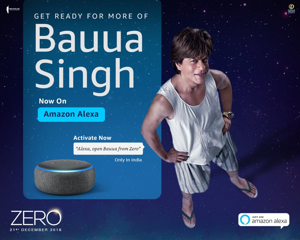 .@iamsrk #SRK's movie Zero the first Indian film officially integrated with Alexa App & devices.  1st Indian production that has developed an interactive Alexa skill. ( 8 Dec 2018 )  #ShahRukhKhan  #Alexa  #BauuaOnAlexa