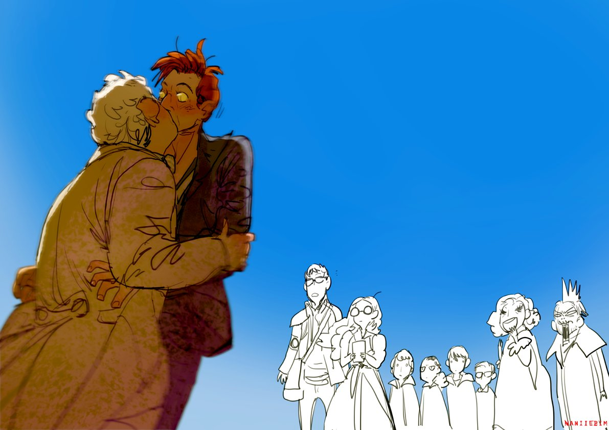 The point just before everyone disperses after the apocalypse…..  Felling That Pine Tree.  #ineffablehusbands  #ineffablespouses #GoodOmensFanArt  #goodomens<br>http://pic.twitter.com/OZG5uDWaBq