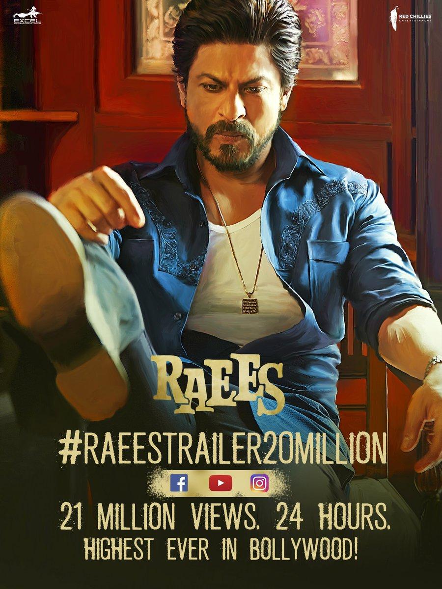.@iamsrk #SRK's Raees   21 million views on the official #RaeesTrailer in less than 24 hours.   ( 8 Dec 2016 )  A fantastic Trailer  #ShahRukhKhan in & as #Raees.