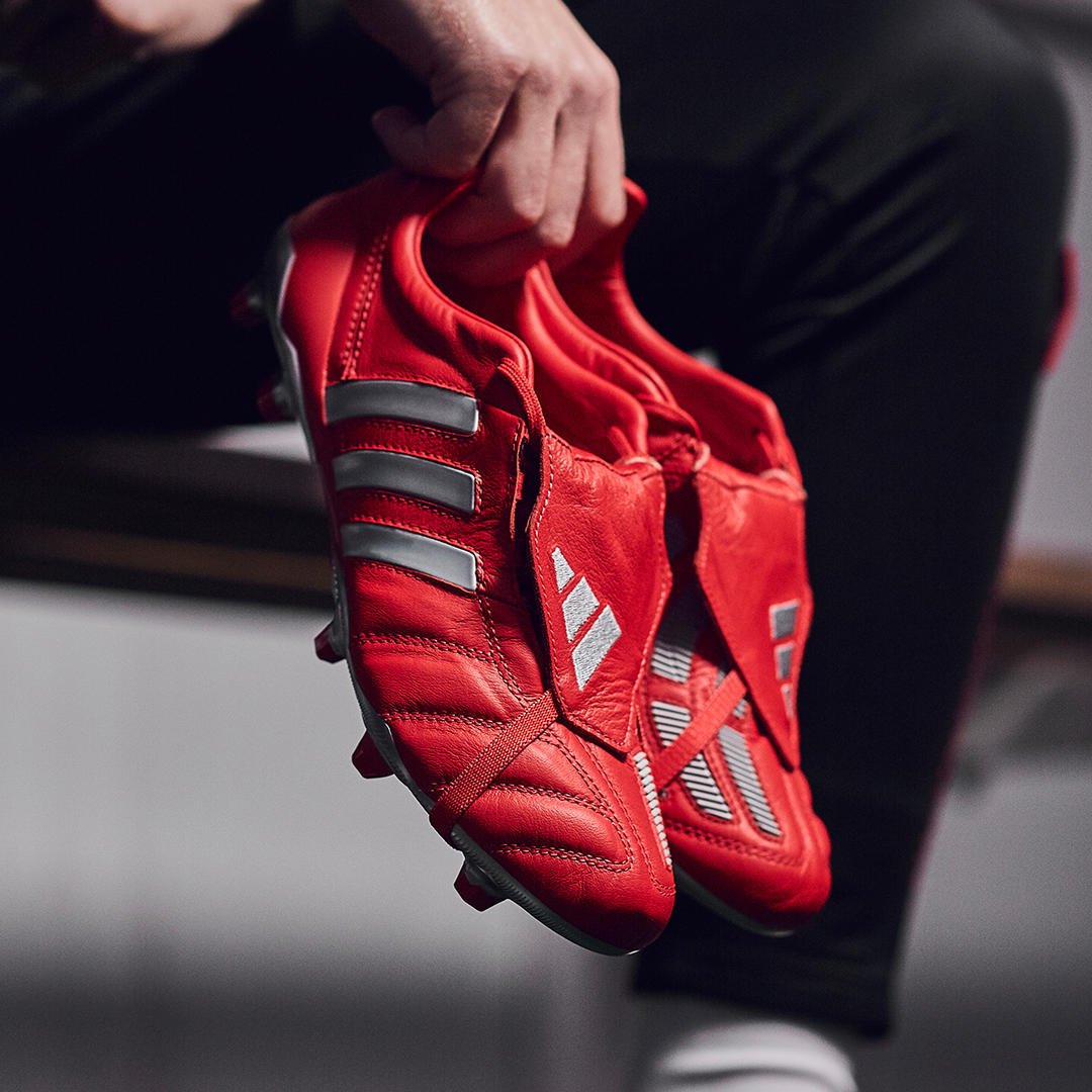 Just dropped 🔥 adidas reissue the iconic Predator Mania OG in rare full red colourway, complete with Predator 19+ tooling styled to mimic the originals' split sole plate. Don't miss your chance to cop at #ProDirect 💯  #OwnPerformance https://t.co/QsRRigJQWE
