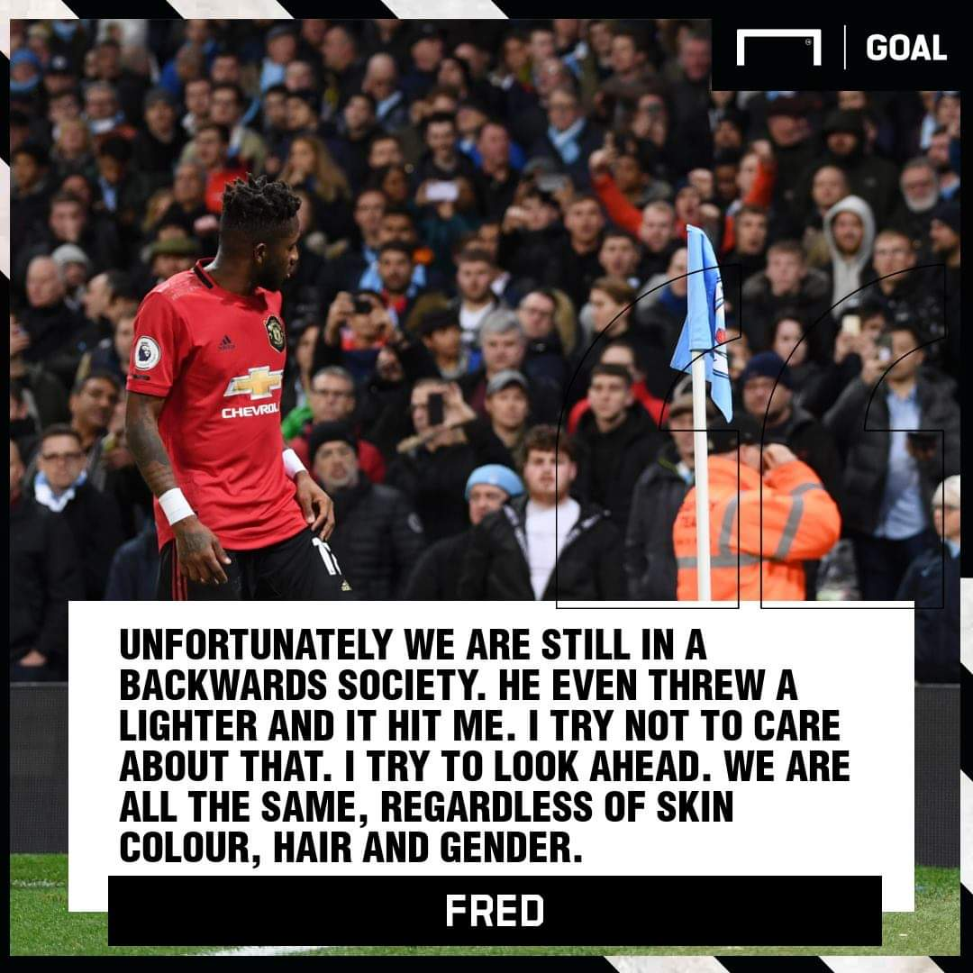 Pathetic that City player's can mock Fred when they have Sterling, Jesus, Mendy in their ranks. Kompany was part of the teams greatest success, racism is bad. City fans are pathetic sour losers, #MCIMU <br>http://pic.twitter.com/wUZJjXjLJg