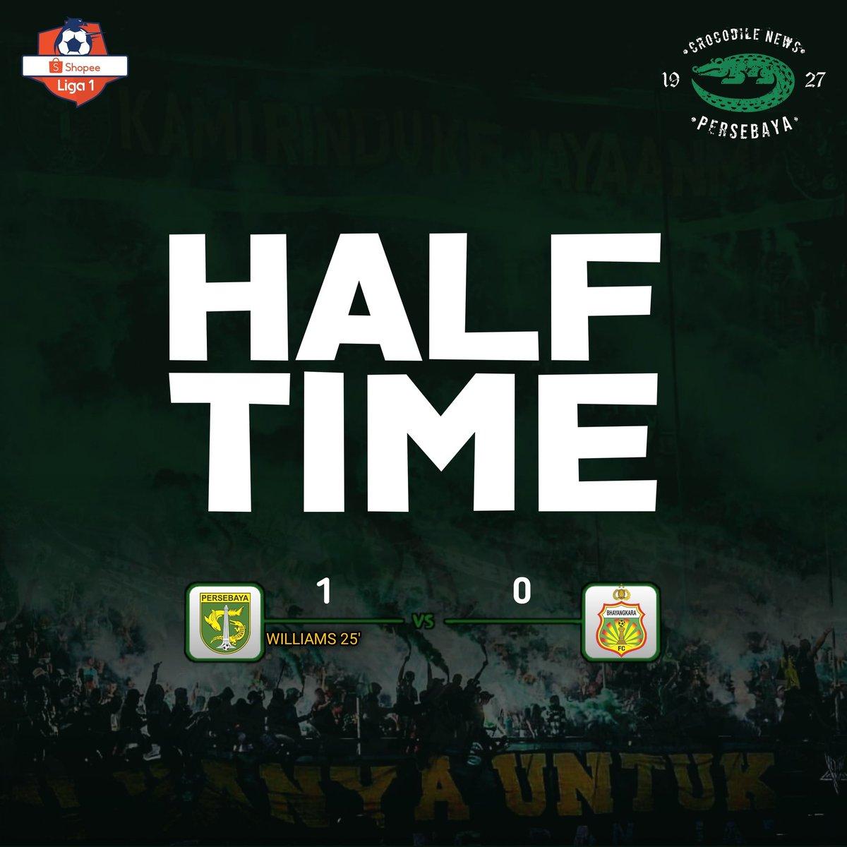Half Time: Persebaya 1-0 Bhayangkara Fc _ ⚽️ Aryn Williams 25'  Jangan dikasih kendor! Babak kedua Ngeyel maneh!🔥 #Persebaya #bajolijo #greenforce #CrocodileNews #bonek #bonita #PersebayaDay