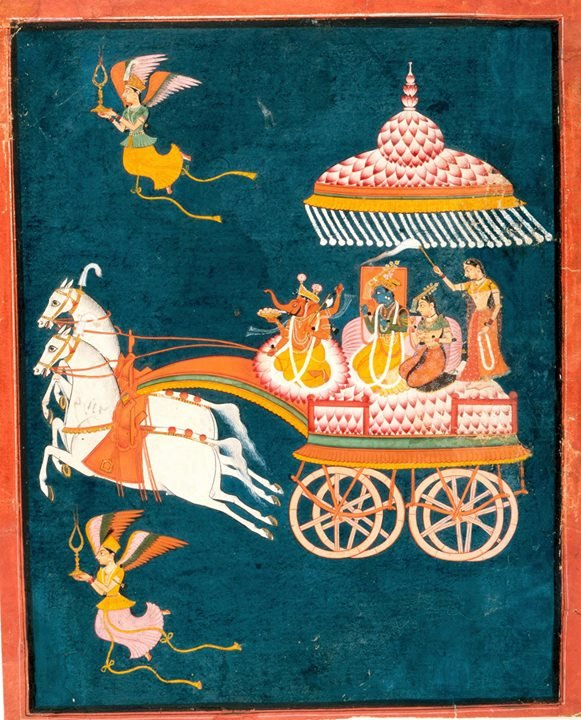Air travel in style! This c 1675-1700 #Bundi #Rajasthan painting with @LACMA of #Krishna & #Rukmini as Groom and Bride in a Celestial Chariot Piloted by God #Ganesh and well served by a Hostess! @dpanikkar @DalrympleWill @IndiaArtHistorypic.twitter.com/b7XvbDnpls