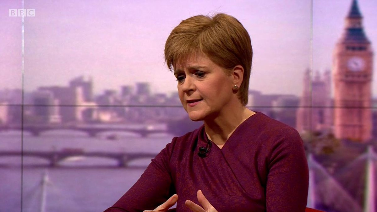 """Nicola Sturgeon: """"I'm not even asking Labour to support the idea that there should be another independence referendum"""" #Marr asks the SNP leader about their conditions for supporting a Labour government #indyref2 bbc.in/2LxsH6b"""