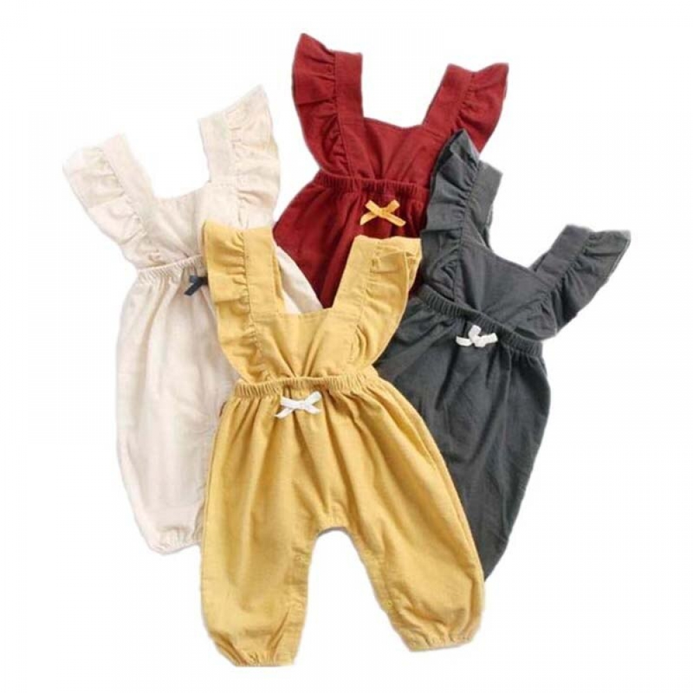 #fun #accs #outside baby girl Clothes Unisex Solid Sleeveless bow summer Trousers Onesies Conjoined clothes infant rompers cotton Toddler Outfits