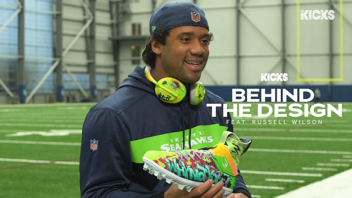 """Behind the Design: @DangeRussWilson and local Seattle artist Jeff """"Weirdo"""" Jacobson give an exclusive look at his new cleat design for """"My Cause My Cleats"""" 🙏 @brkicks"""