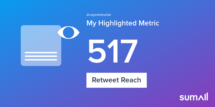 My week on Twitter : 2 Likes, 1 Retweet, 517 Retweet Reach. See yours with  https:// sumall.com/performancetwe et?utm_source=twitter&utm_medium=publishing&utm_campaign=performance_tweet&utm_content=text_and_media&utm_term=de39b3aa6ffb053577512581  … <br>http://pic.twitter.com/5Ji8hHYuIe