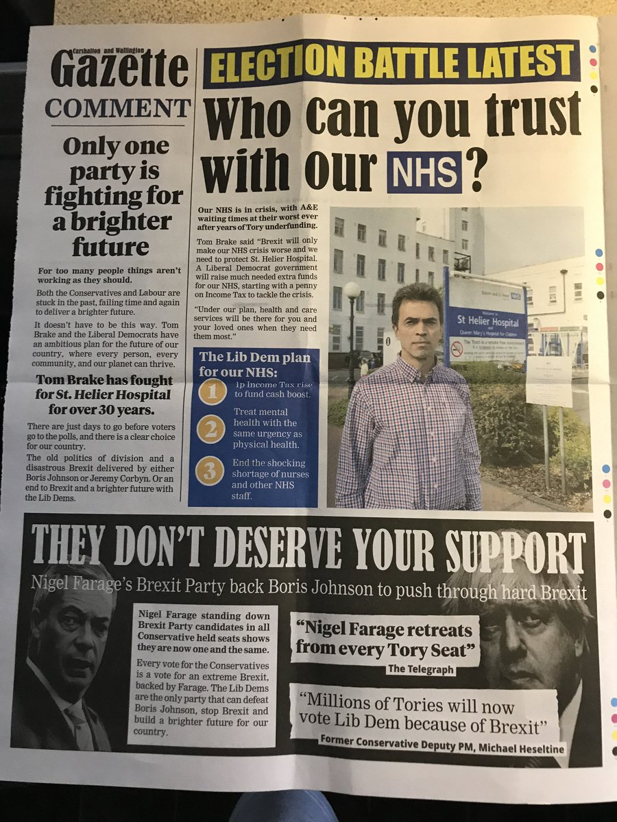 Nervous local @LibDems issue #GeneralElection19 four-pager where the word #Remain fails to appear even once. A passing reference to stop #Brexit but that's it. #Carshalton #Wallington
