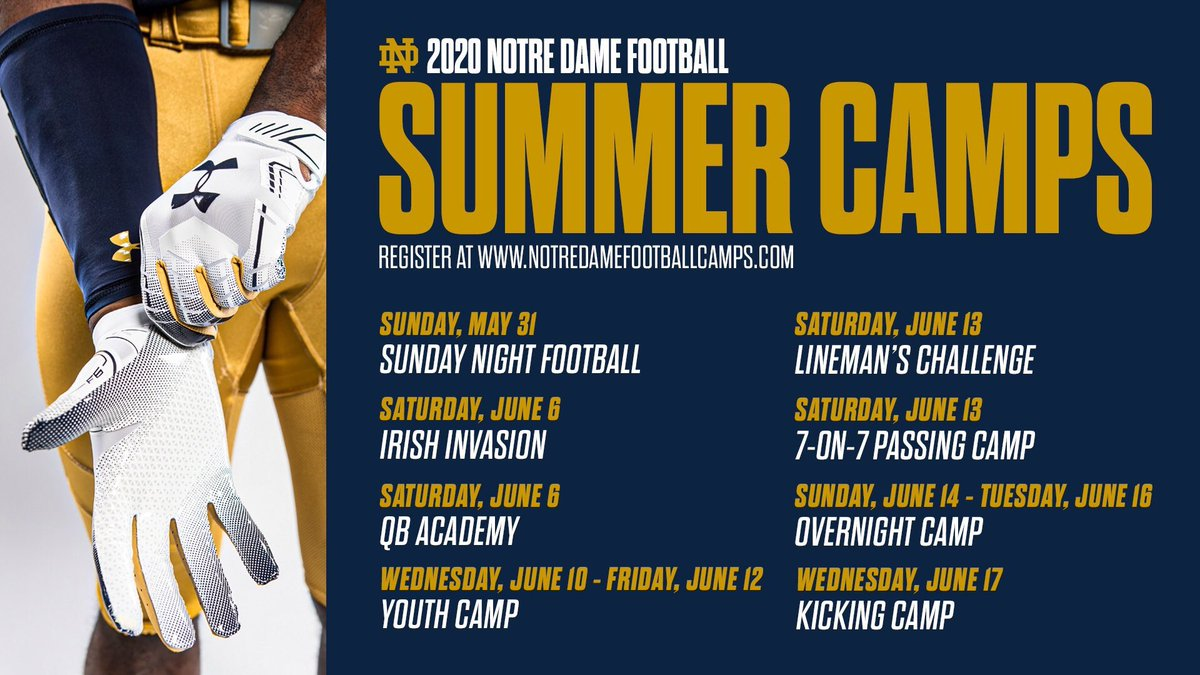 Don't want to go to the store to buy gifts for the holidays?  Reserve a spot for your kids at one of our many summer camps!  ⬇️⬇️⬇️ http://notredamefootballcamps.com