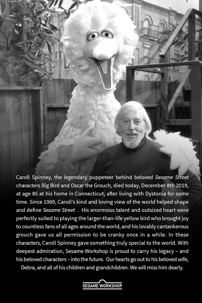 Caroll Spinney, puppeteer behind Big Bird and Oscar the Grouch, has died