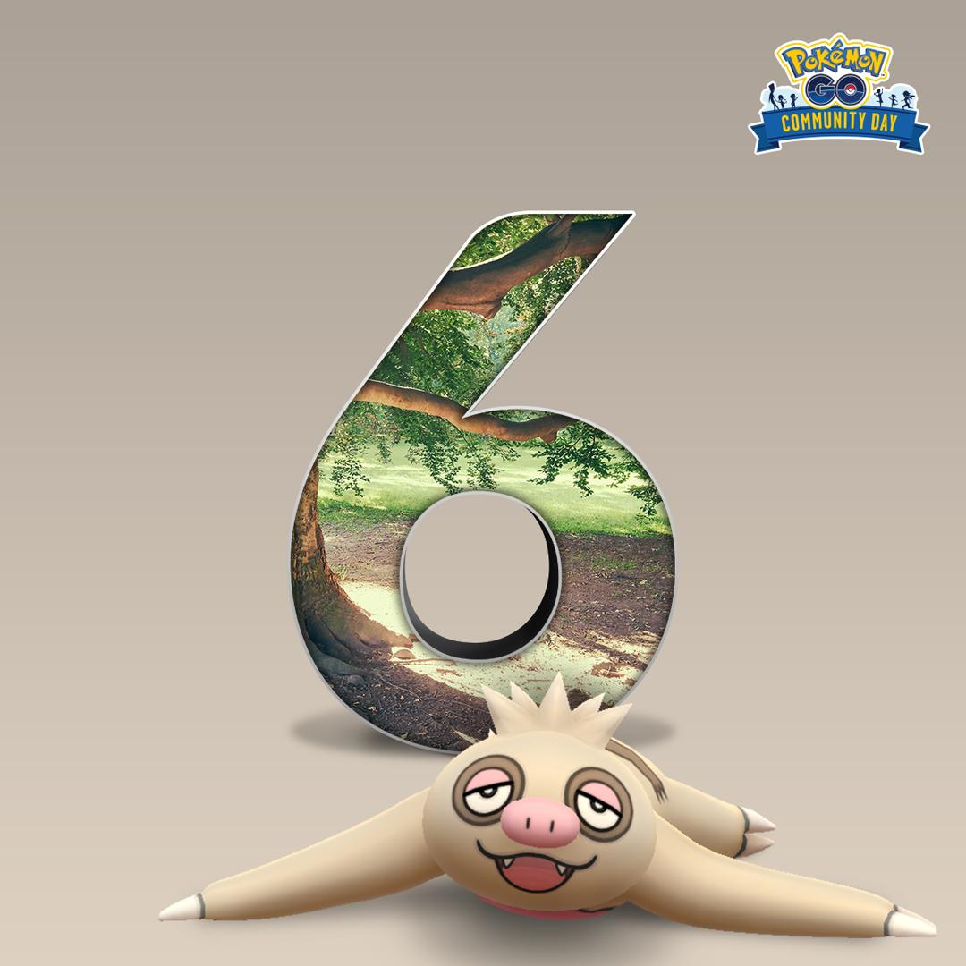 Six more days until the Slacker Pokémon comes back in greater numbers for #PokemonGOCommunityDay. <br>http://pic.twitter.com/HUo3EFTA3D