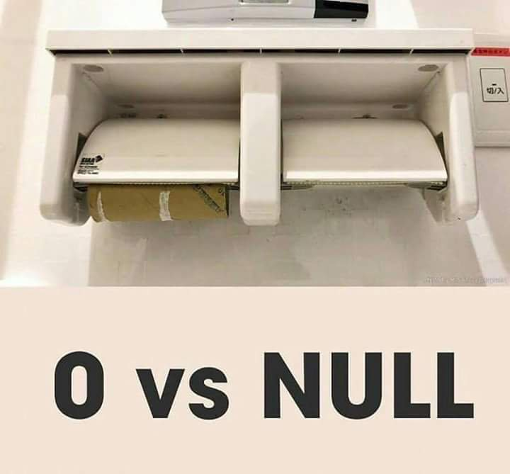 Difference between 0 and null : ProgrammerHumor