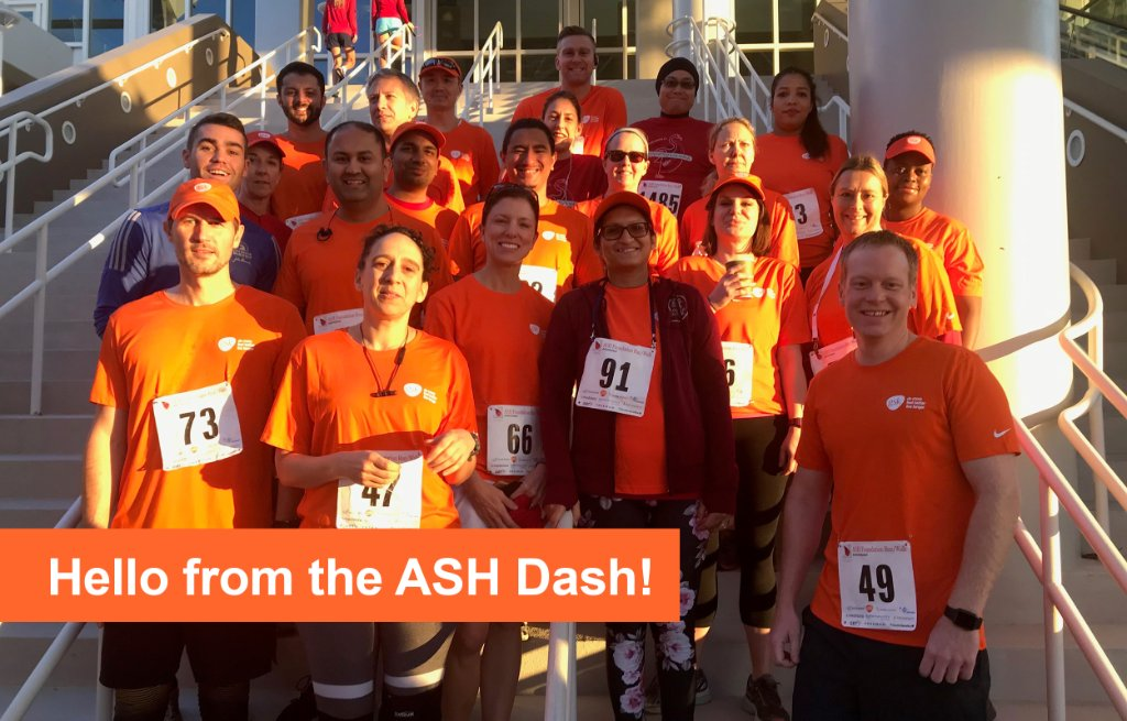 Hello from the ASH Dash! We're proud to sponsor today's @ASH_hematology Foundation Run/Walk during #ASH19 -- raising funds to support multiple #myeloma research. Way to go everyone! #mmsm https://t.co/IsO8BvD1oG