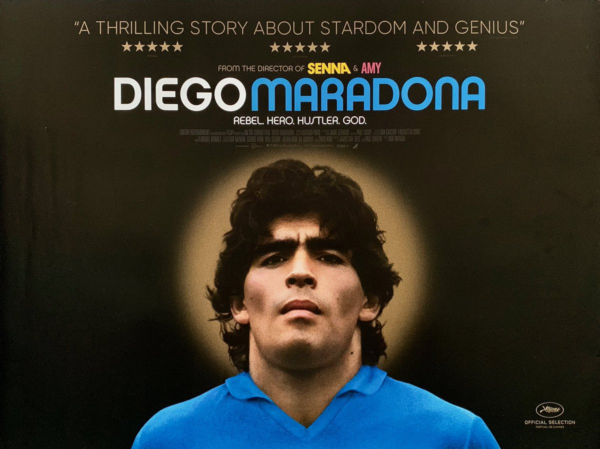 Loved @asifkapadia's documentary 'Diego Maradona'. As with his equally magnificent 'Senna' he uses eye popping archival footage & audio interviews to hypnotic, cinematic effect. The soaring highs and sleazy lows of his story make this a sports documentary as opera. Great stuff.