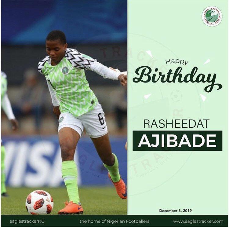 Super Falcons forward, Rasheedat Ajibade celebrates her 20th birthday today. Leave her a birthday message. @Rasheedatt10  —————— #Ajibade #RasheedatAjibade #SuperFalcons #SoarSuperFalcons #SportsMarketing #HappyBirthday #team9jastrong <br>http://pic.twitter.com/5LiWsGrOIE