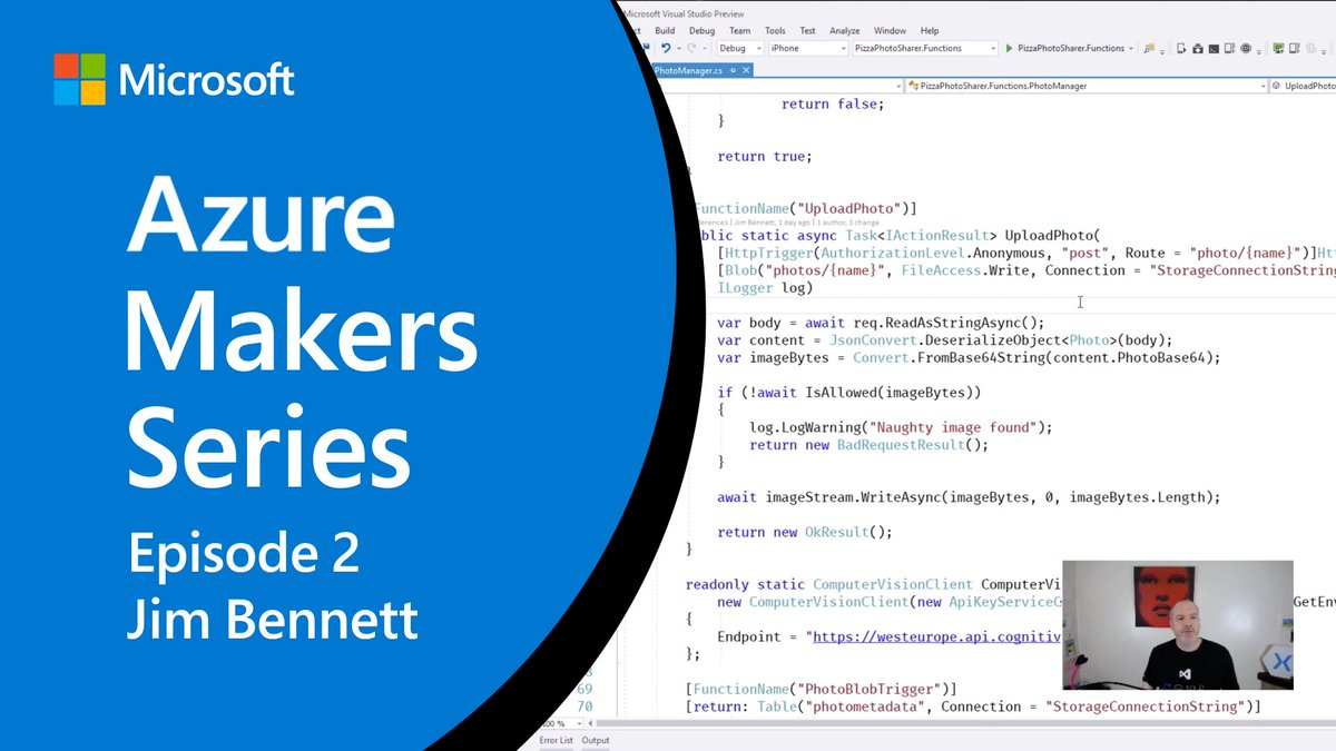 Learn from @JimBobBennett as he uses #VSTO for Xamarin and Azure to build a photo-sharing social media app complete with a serverless backend and photo storage. Watch #AzureMakers now: http://msft.it/6012TVjkn