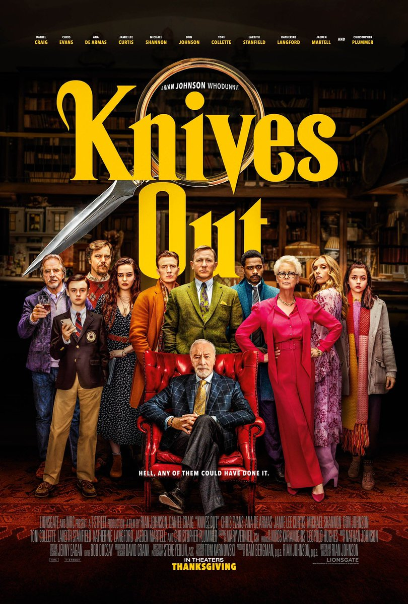 """""""This is a cast that has something for everyone, from James Bond doing his best KFC commercial audition to Captain America being an absolute jerk""""  Knives Out (2019) movie review here:  http:// uncutmoviereviews.com/2019/12/08/kni ves-out-rian-johnson-2019/  …  #KnivesOut #MovieReview <br>http://pic.twitter.com/o5yiYZFHNL"""